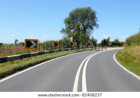 Tight bend on the Radnor forest road in Wales UK. - stock photo