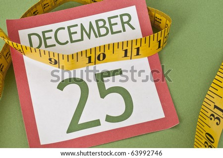 Tight budget Holiday Concept with Measuring Tape on a Calendar Page for Christmas.