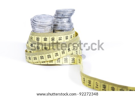 Tight financial budget concept with coins and measurement tape isolated on white background