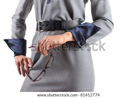 tight-fitting women dress in details - stock photo