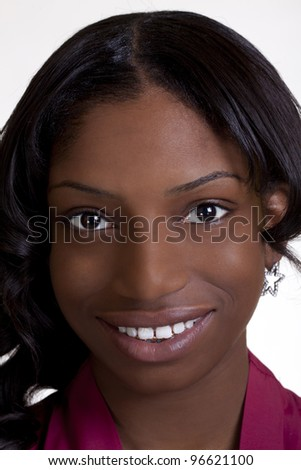 Tight Head Shot Young Black Woman Smiling