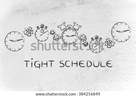 tight schedules & time management: different clocks, stopwatches, alarms & gearwheels - stock photo