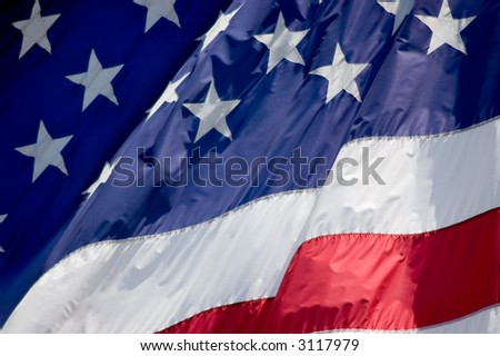 Tightly cropped photo of an American flag. - stock photo
