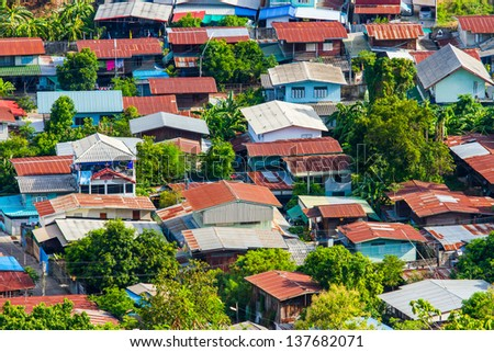tightly home in Nakonsawan Thailand. Old tradition house - stock photo
