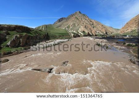 Tigris River in east Turkey. - stock photo