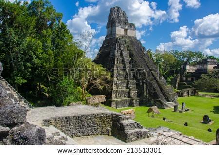 Tikal - Maya Ruins in the rainforest of Guatemala - stock photo
