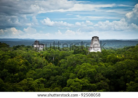 Tikal, Mayan ruins in Guatemala, seen from temple IV. - stock photo