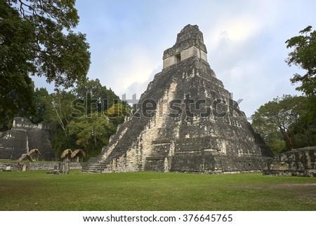 Tikal pyramids, a mayan site in Guatemala - stock photo