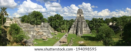 Tikal Temples, Tikal National Park, Guatemala - stock photo
