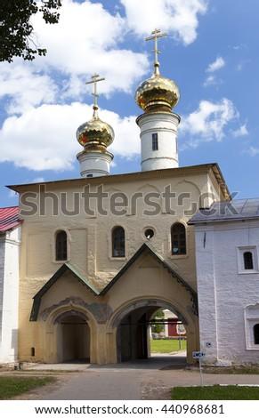Tikhvin Assumption Monastery, a Russian Orthodox, (Tihvin, Saint Petersburg region, Russia) - stock photo