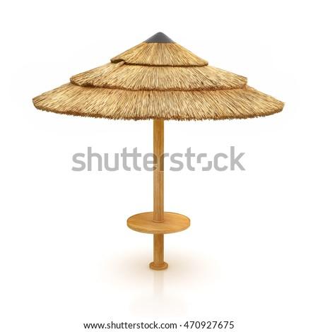 Tiki Hut Umbrella Isolated On White