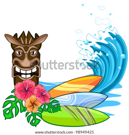 Tiki idol with hibiscus flowers and surf board