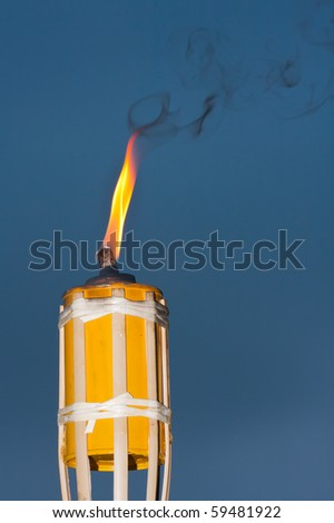 Tiki mosquito repellent torch at an outdoor bbq. - stock photo