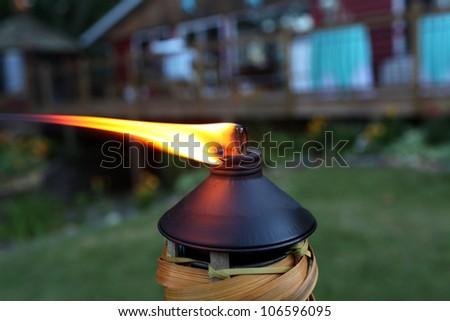 Tiki Torch Flame - stock photo