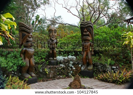 Tiki Wood Carving in the Beautiful Kula Botanical Garden Kula Maui Hawaii - stock photo