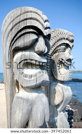 Tikis at Puuhonua o Honaunau National Historical Park on the Big Island in Hawaii