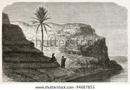 Tikrit old view, along Tigris river, Babylonia. Created by De Bar after Lejean, published on Le Tour du Monde, Paris, 1867 - stock photo