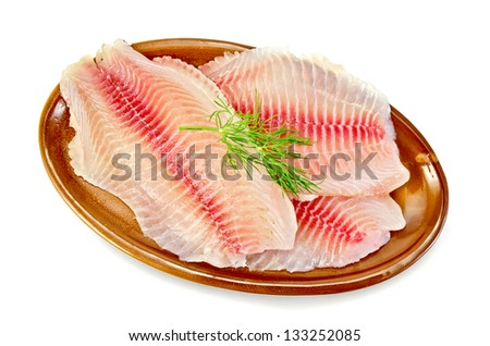 Tilapia fillets with dill in a pottery plate isolated on white background - stock photo