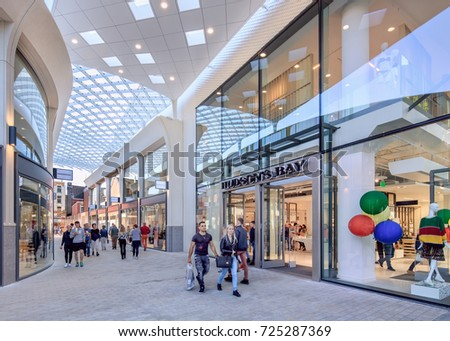 TILBURG-SEPTEMBER 23, 2017. New Hudson's Bay shopping mall. Hudson's Bay wants to be a premium department store in the Netherlands. Eventually they planned to open twenty stores in The Netherlands.