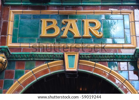 Tile Bar Sign - stock photo