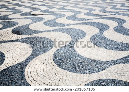 Tile brick floor in Lisbon Town Square , Portugal