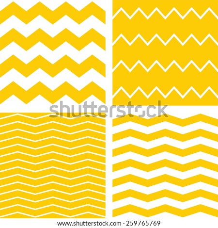 Tile chevron pattern set with yellow and white zig zag background - stock photo
