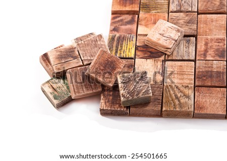 Tile collected from the solid squares of old wood - stock photo