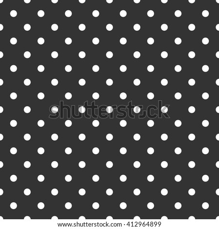 Tile dark pattern with white polka dots on black background
