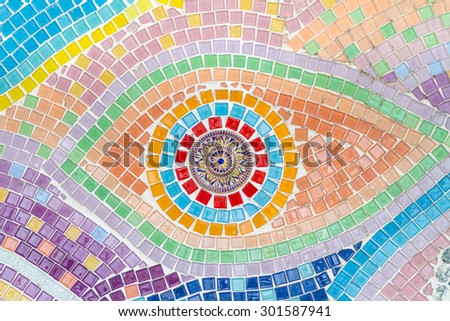 Tile decorating on temple wall for abstract background - stock photo