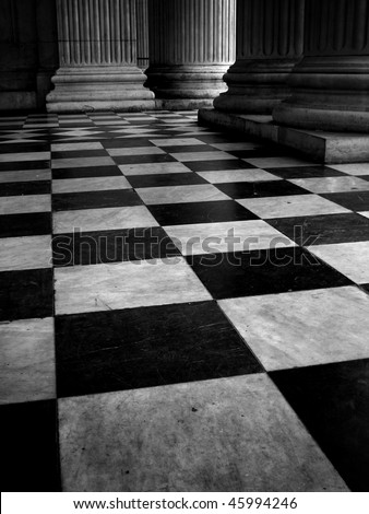 Tile floor, St Pauls Cathedral, London, England - stock photo