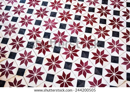 Tile flooring temple in Thailand. - stock photo