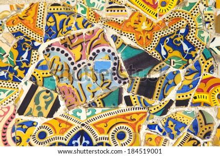 Tile mosaic wall in park city (Barcelona, Catalunya, Spain) - stock photo
