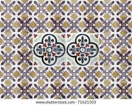 tile pattern of a vintage oriental graphic - stock photo