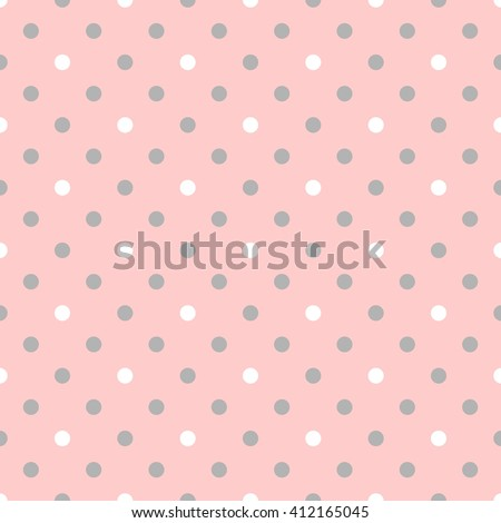 Tile pattern pink polka dots on grey background