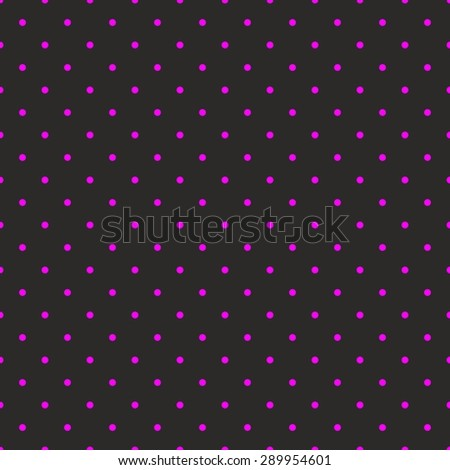Tile pattern with small neon pink polka dots on black background - stock photo