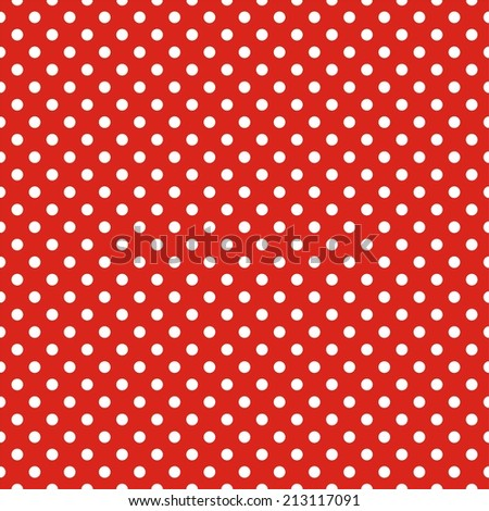 Tile pattern with white polka dots on red background - stock photo