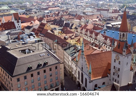 Tile roofs of Munich (Munchen), Germany. View from sacred Peter's Church (1)