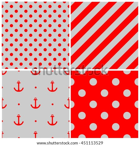 Tile sailor grey and red pattern set with polka dots and zig zag stripes