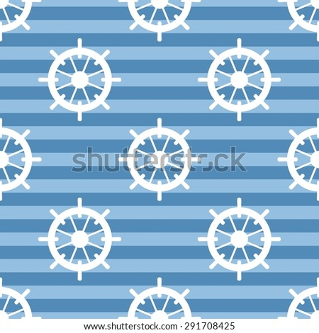 Tile sailor pattern with white rudder on navy blue stripes background - stock photo