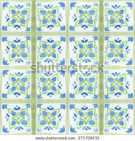 Tiled background with floral ornaments. Watercolor flower tile seamless background.  Colorful tiled watercolor seamless pattern. Hand paint of watercolor tiled floral repeating pattern. Hand painting. - stock photo