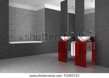 tiled bathroom with double basin and bathtub - stock photo