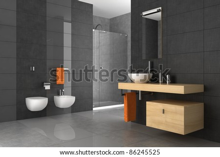 tiled bathroom with wood furniture - stock photo