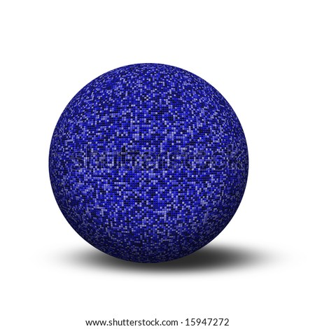 Tiled blue sphere - stock photo