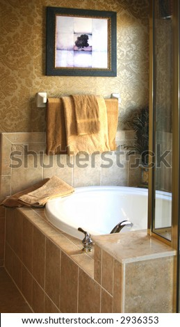 tiled garden bath tub with a glass shower awash in window light - stock photo