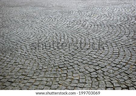 Tiled pavement background. Circle paving. - stock photo