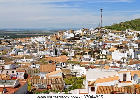 Tiled rooftops on whitewashed houses  in Osuna; Andalusia; Spain
