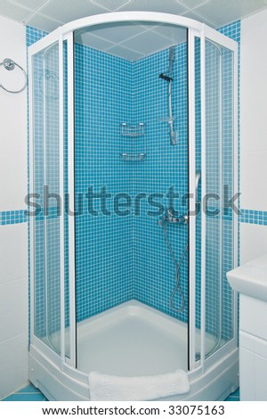 tiled shower with opened screen - stock photo