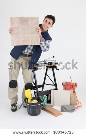 tiler posing - stock photo