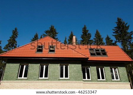 tiles on a roof with window - stock photo