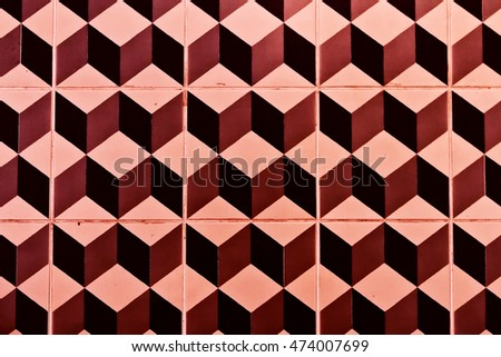 tiles with cubes pattern colored red